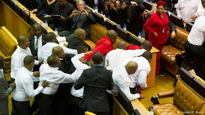EFF removed from parliament by security forces